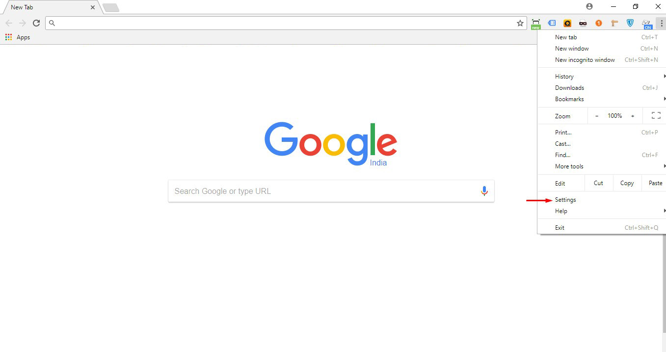 Click on 'Settings' in your chrome menu