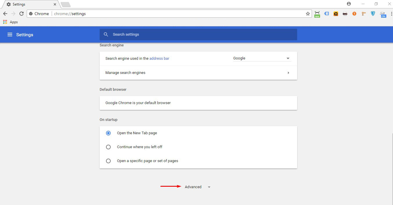 Find 'Advanced' at the end of the page. Click on it.