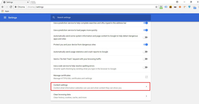 Click on 'Content settings'.