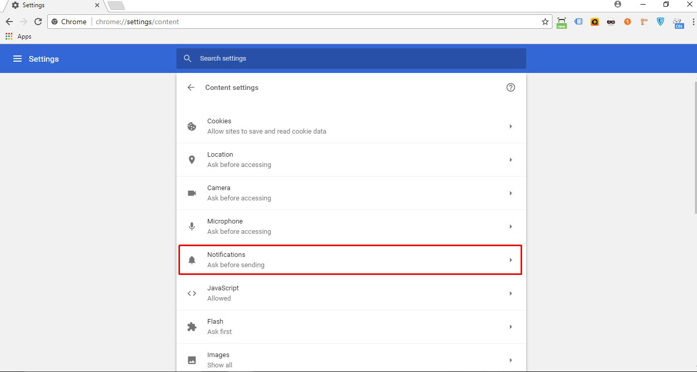 Click on 'Notifications'
