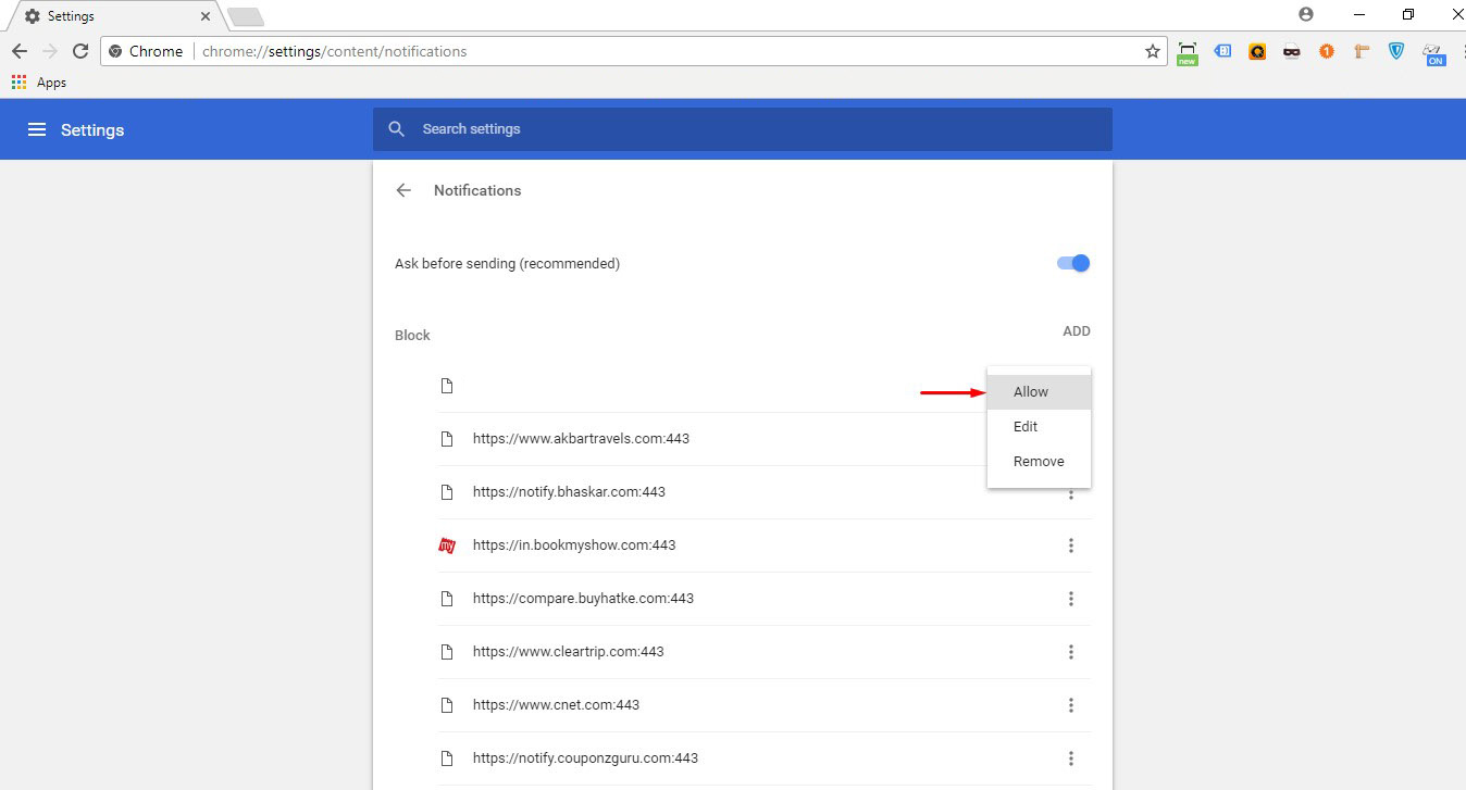 Look for channel . Click on 'Allow' to unblock alerts.