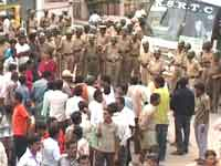 Police lathicharge JDS party workers in Channapattana