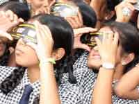 Students in Shivamogga watch Solar eclipse
