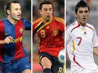 Andres Iniesta, Xavi and David Villa