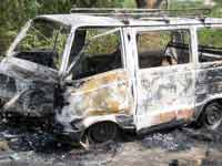 A Maruti Onmi and a person burnt alive in Savanur