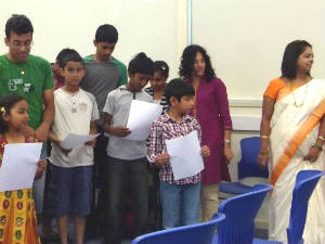 Students of Kannada school in Adelaide with Gayathri