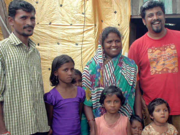 Raghu Dixit with villagers