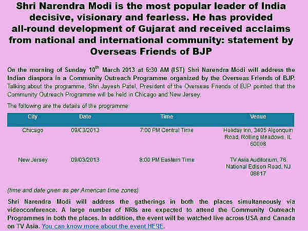 Narendra Modi will address the Indian diaspora on 10th March 2013