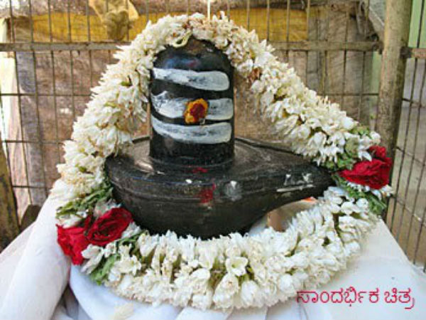 An eye created in Shivalingam in Tumkur district temple
