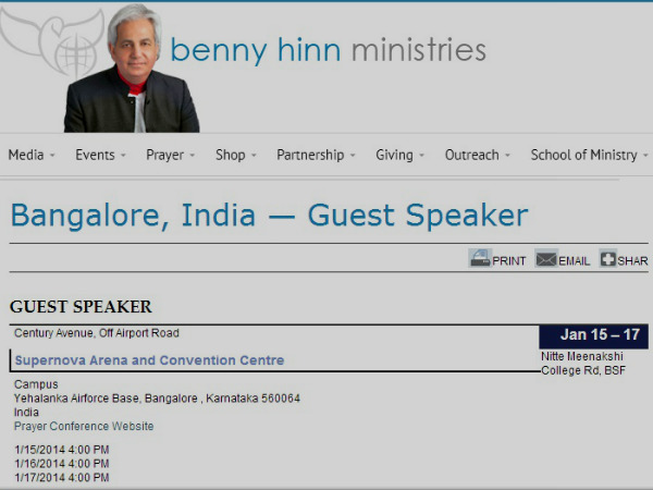 Sperstition: Miracle Crusader televangelist Benny Hinn to visit Bangalore in January 2014,