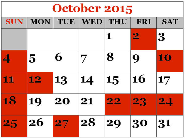 Series of Holidays and long weekends in October 2015