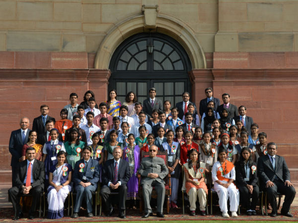 The Tata Building India School Essay Competition winners meet President Pranab Mukherjee