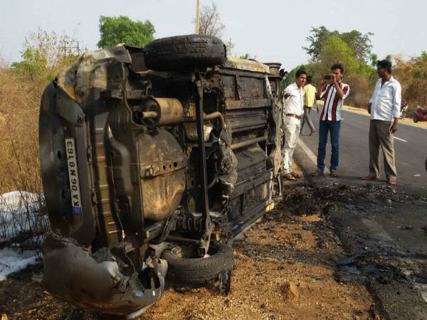 Road accident, two persons died in Mandya