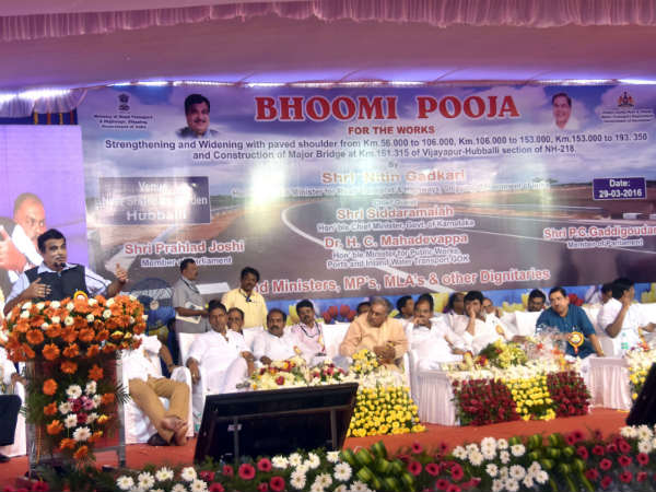 Union Minister for Road Transport and highways Nitin Gadkari visits Hubballi