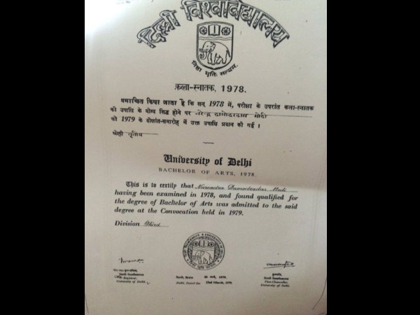 BJP displays Narendra Modi's BA, MA degree certificates, AAP says its Fake