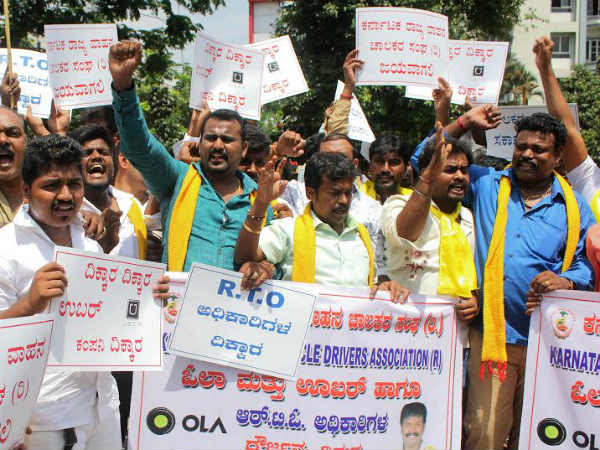 Protest by private vehicle drivers against Ola, Uber