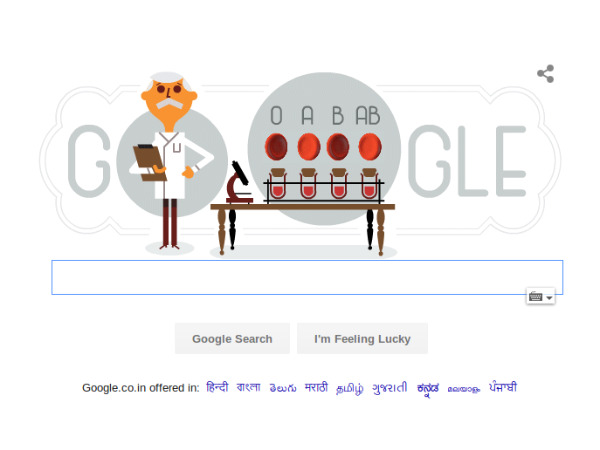 Google doodle pays tribute to Karl Landsteiner on his 148th birth anniversary