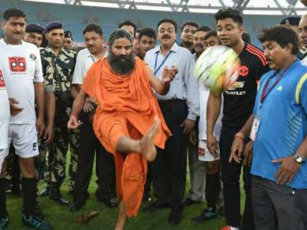 Bollywood Vs Politicians Charity Football Kicked Off Baba Ramdev