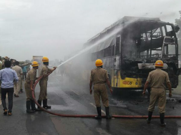 2 Dead after private bus catches fire, Hubballi