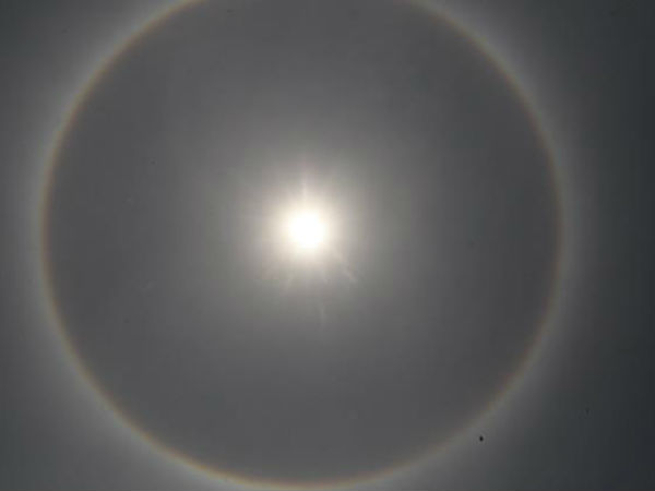 Mysterious rainbow halo seen around the sun in Mangaluru