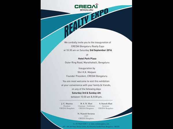 CREDAI Realty Expo on 3 and 4th Sept, 2016, Bengaluru