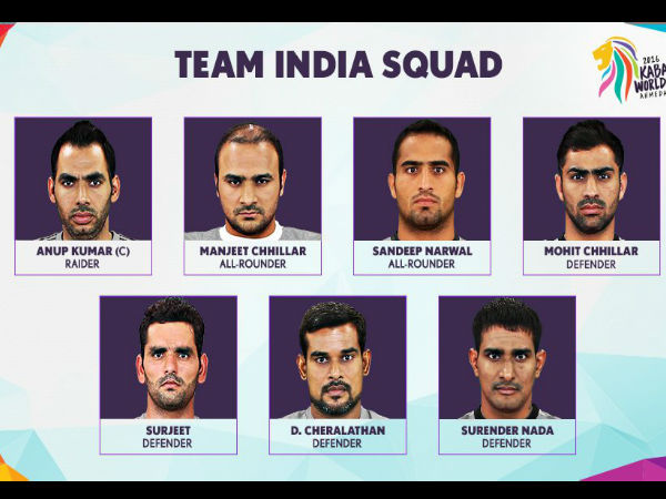 Kabaddi World Cup 2016: Indian Team announced; Anup Kumar named captain