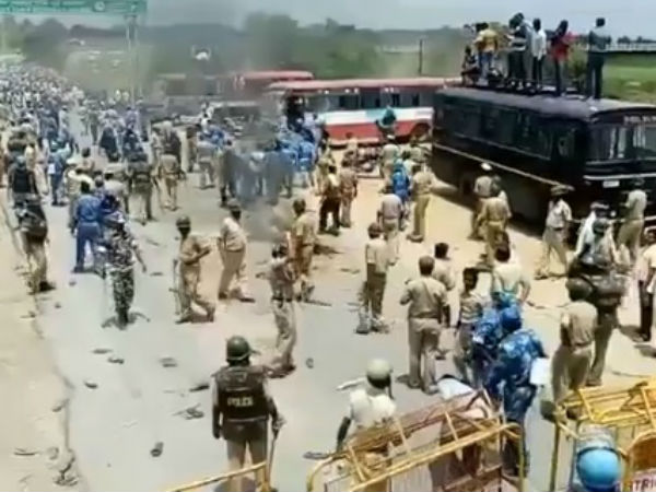 Police lathicharge protesting farmers near KRS