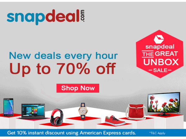 Snapdeal unbox Sale Get 70% Discount on Products