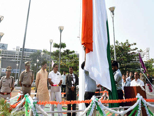 Minister Rai hoists monumental 100FT high national flag at Mangaluru International Airport