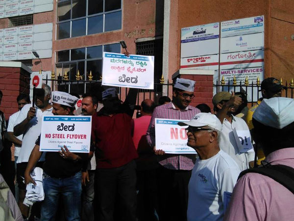 AAP Karnataka support protest against Construction of Steel Flyover