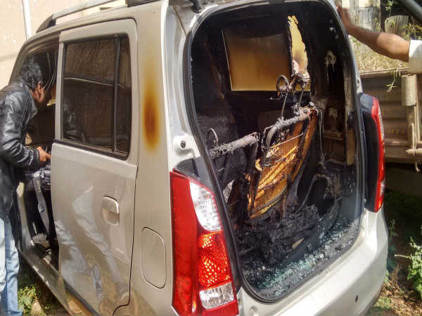 perpetrators torched on rss leader's car in kodagu