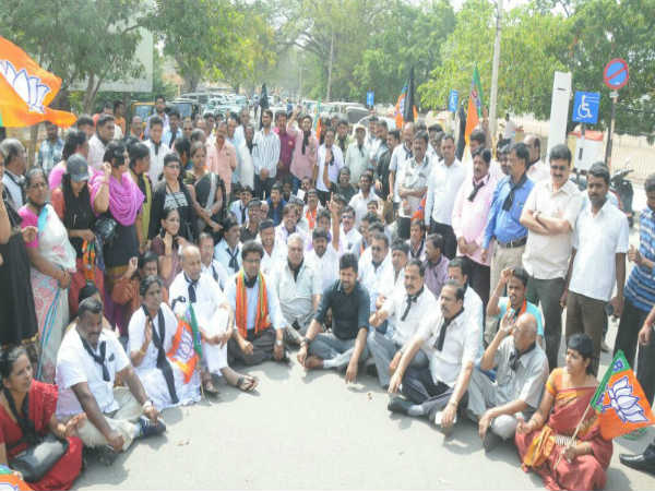 Several BJP workers arressted protest against Tippu Jayanti celebration