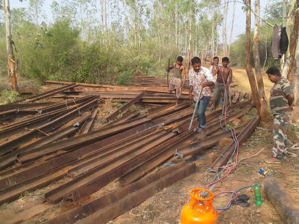 Forest department constructing rail track to prevent elephants
