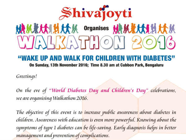 Walkathon for awareness on diabetes in childrens