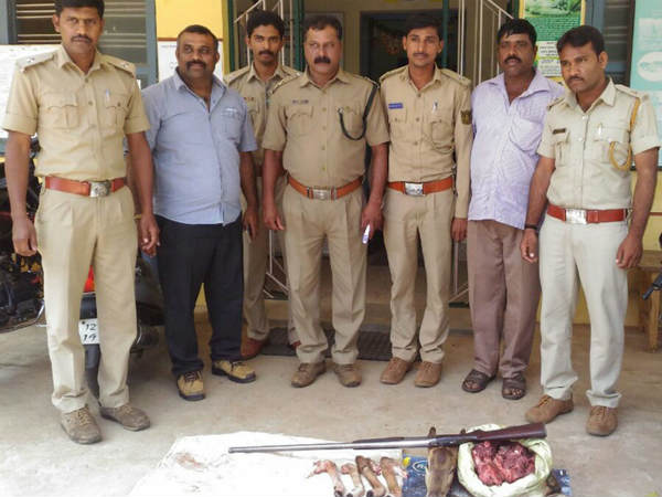 Seizure of venison with a gun in Mysore