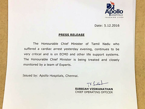 Jayalalithaa continues to be very critical says Apollo Hospital