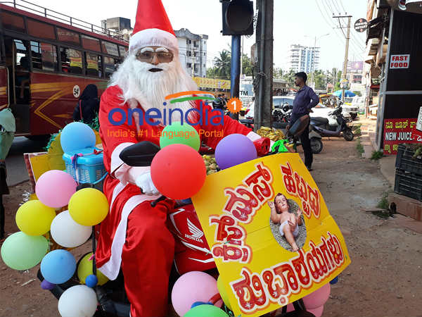vincent menezes a santa for 17 years in mangaluru travelling about 400kms every year christmas.