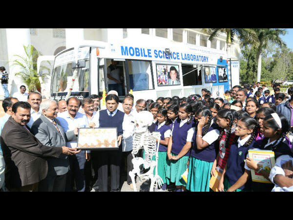 Mobile science laboratory flagged off in mysore university.