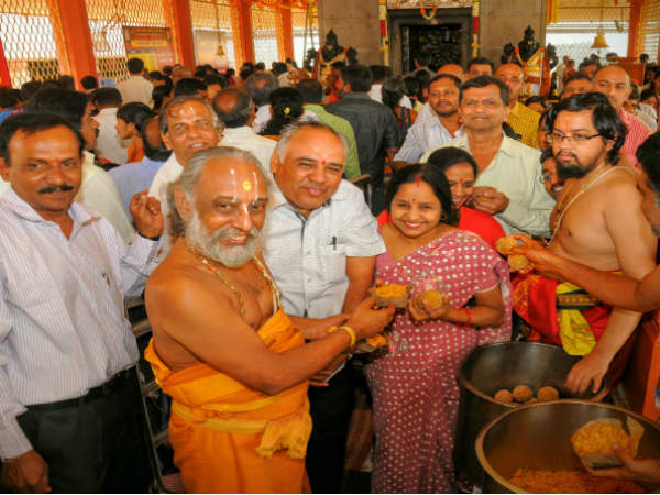 Yoga Narasimha temple were delivered the 2 lakh laddu for new year