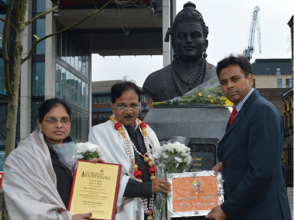 Tribute to Basaveshwara statue in London by Social Justice Minister Raj Kumar Badole