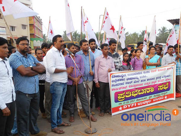 Youth Congress and DYFI protest against the controversial speech by MP Nalin Kumar Kateel