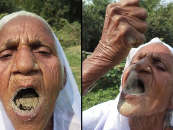 78 old woman named Kusma vati eats sand every day for good health!