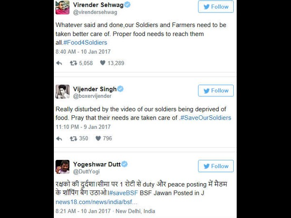 Sports stars come out in support of BSF jawan's video