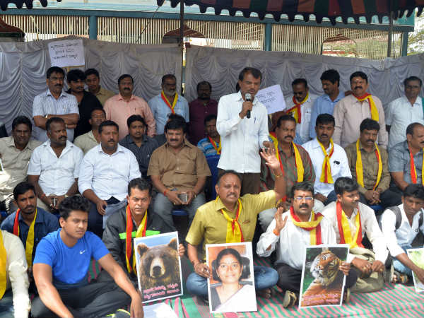 Protest against the close down of Mysore zoo