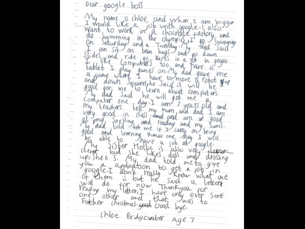 Google CEO Sundar Pichai replies to 7-Year-Old Girl Applied for a Job at Google