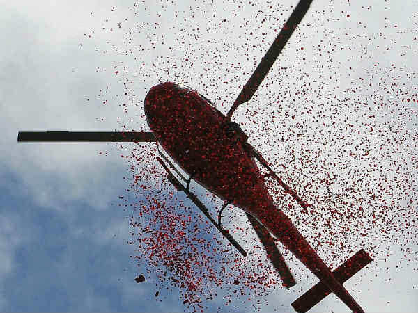 rain of flowers wrapped by helicopter: High Court dismissed the petition