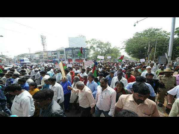 Various protest in mysuru to solve their problem