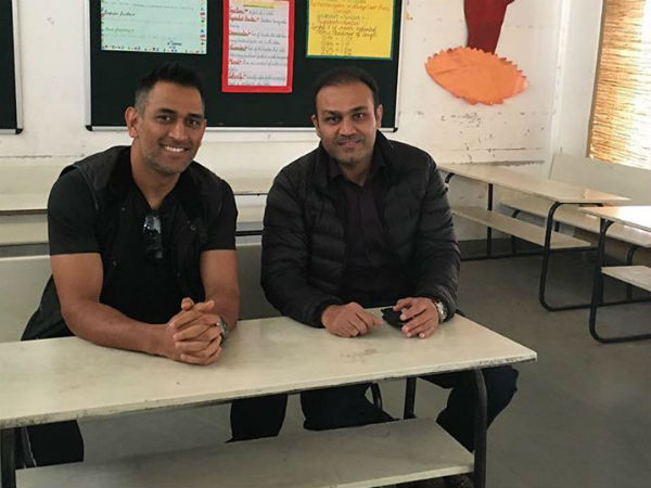 When Dhoni paid visit to Sehwag school