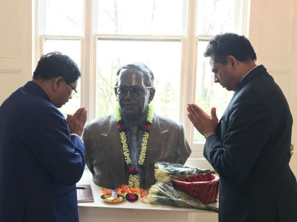 Tribute to Basaveshwara statue & Ambedkar House in London by Home Minister Dr G Parameshwara