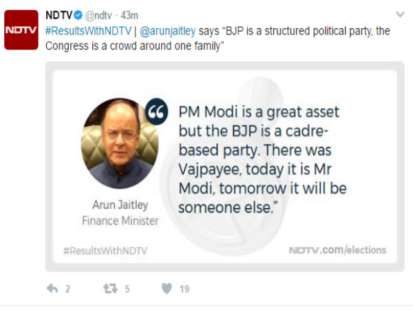 Modi one man show in UP: BJP is structured party, Finance Minister Jaitley